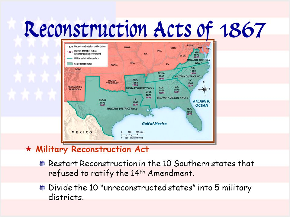 Reconstruction Acts of 1867   Military Reconstruction Act * * Restart Reconstruction in the 10 Southern states that refused to ratify the 14 th Amendment.