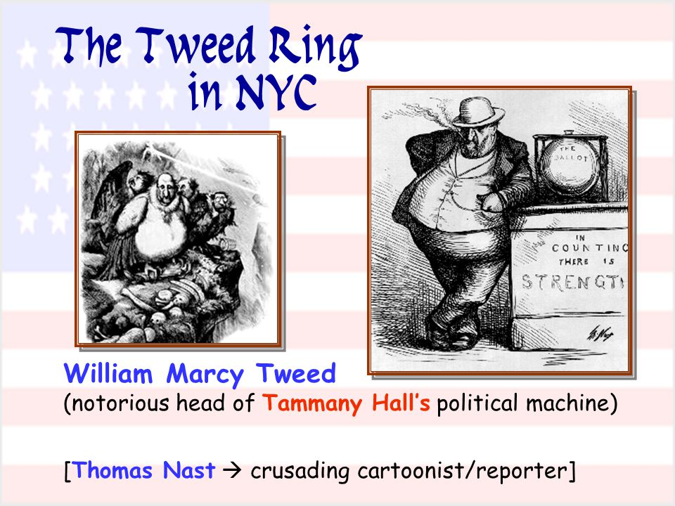 William Marcy Tweed (notorious head of Tammany Hall's political machine) [Thomas Nast  crusading cartoonist/reporter] The Tweed Ring in NYC