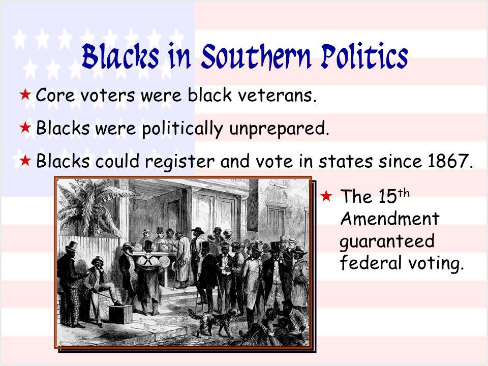  The 15 th Amendment guaranteed federal voting.