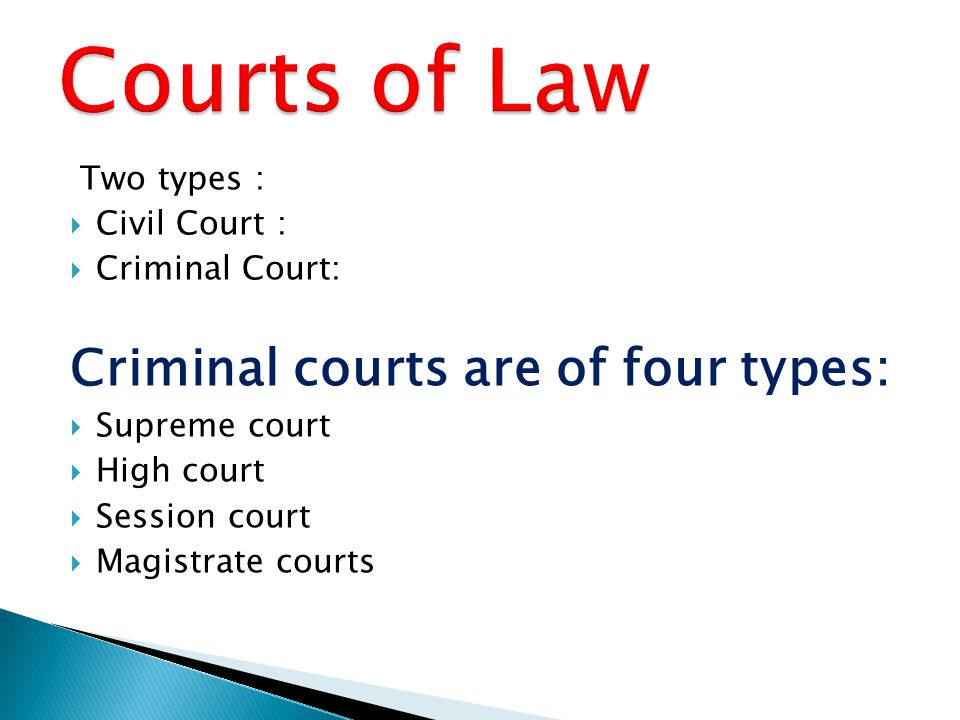 Two types :  Civil Court :  Criminal Court: Criminal courts are of four types:  Supreme court  High court  Session court  Magistrate courts