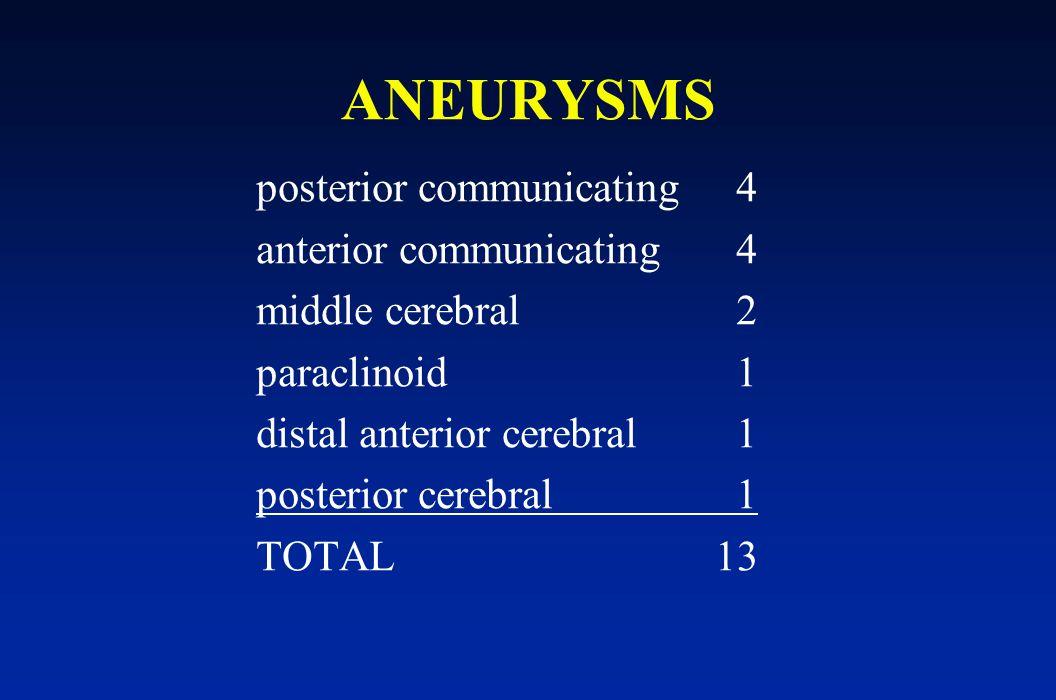 ANEURYSMS posterior communicating4 anterior communicating4 middle cerebral2 paraclinoid1 distal anterior cerebral1 posterior cerebral1 TOTAL 13