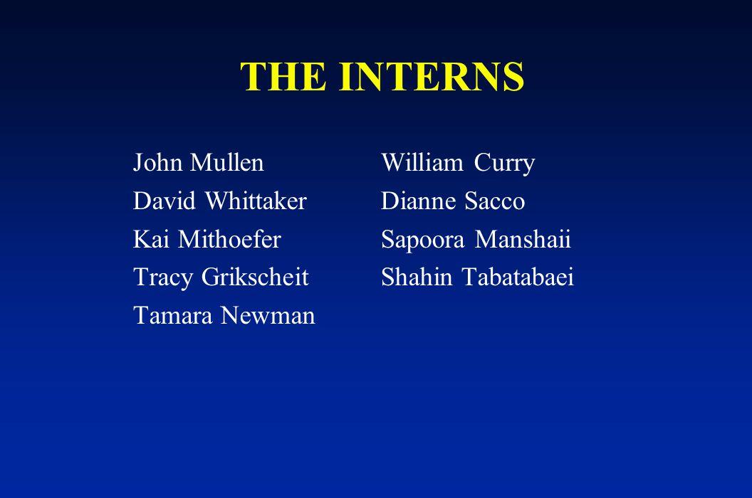 THE INTERNS John MullenWilliam Curry David WhittakerDianne Sacco Kai MithoeferSapoora Manshaii Tracy GrikscheitShahin Tabatabaei Tamara Newman
