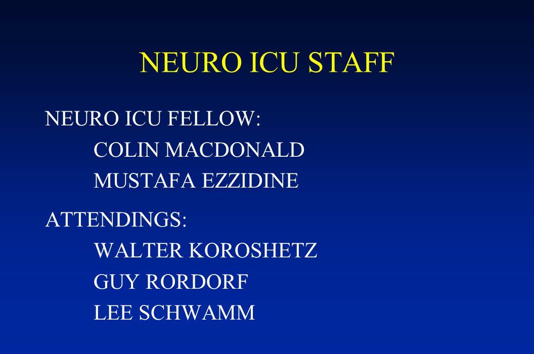 NEURO ICU STAFF NEURO ICU FELLOW: COLIN MACDONALD MUSTAFA EZZIDINE ATTENDINGS: WALTER KOROSHETZ GUY RORDORF LEE SCHWAMM
