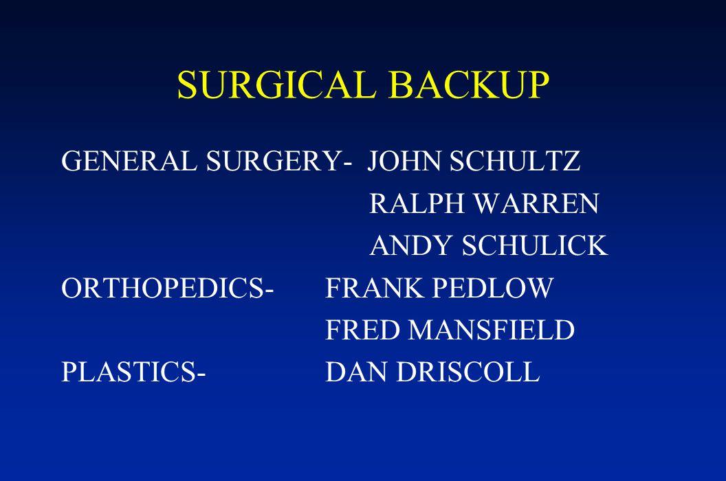 SURGICAL BACKUP GENERAL SURGERY- JOHN SCHULTZ RALPH WARREN ANDY SCHULICK ORTHOPEDICS-FRANK PEDLOW FRED MANSFIELD PLASTICS-DAN DRISCOLL