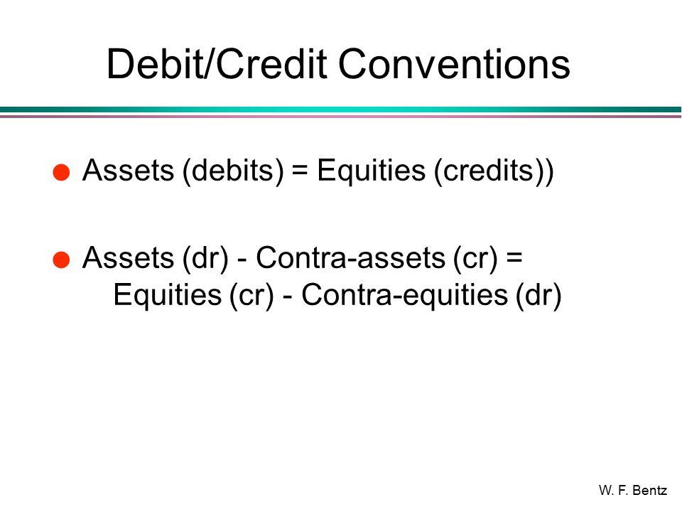 W. F. Bentz Debit/Credit Conventions l Assets (debits) = Equities (credits)) l Assets (dr) - Contra-assets (cr) = Equities (cr) - Contra-equities (dr)