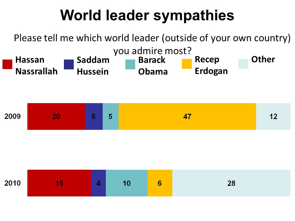 World leader sympathies Hassan Nassrallah Saddam Hussein Barack Obama Recep Erdogan Other Please tell me which world leader (outside of your own count