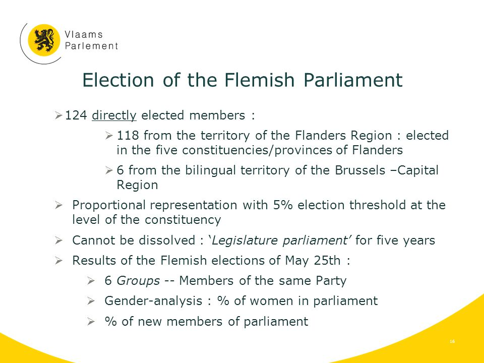 Election of the Flemish Parliament  124 directly elected members :  118 from the territory of the Flanders Region : elected in the five constituencies/provinces of Flanders  6 from the bilingual territory of the Brussels –Capital Region  Proportional representation with 5% election threshold at the level of the constituency  Cannot be dissolved : 'Legislature parliament' for five years  Results of the Flemish elections of May 25th :  6 Groups -- Members of the same Party  Gender-analysis : % of women in parliament  % of new members of parliament 16