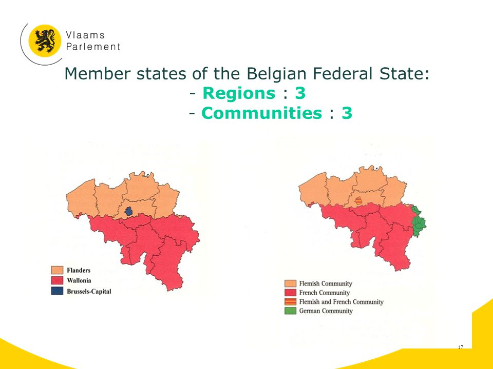 Member states of the Belgian Federal State: - Regions : 3 - Communities : 3 17