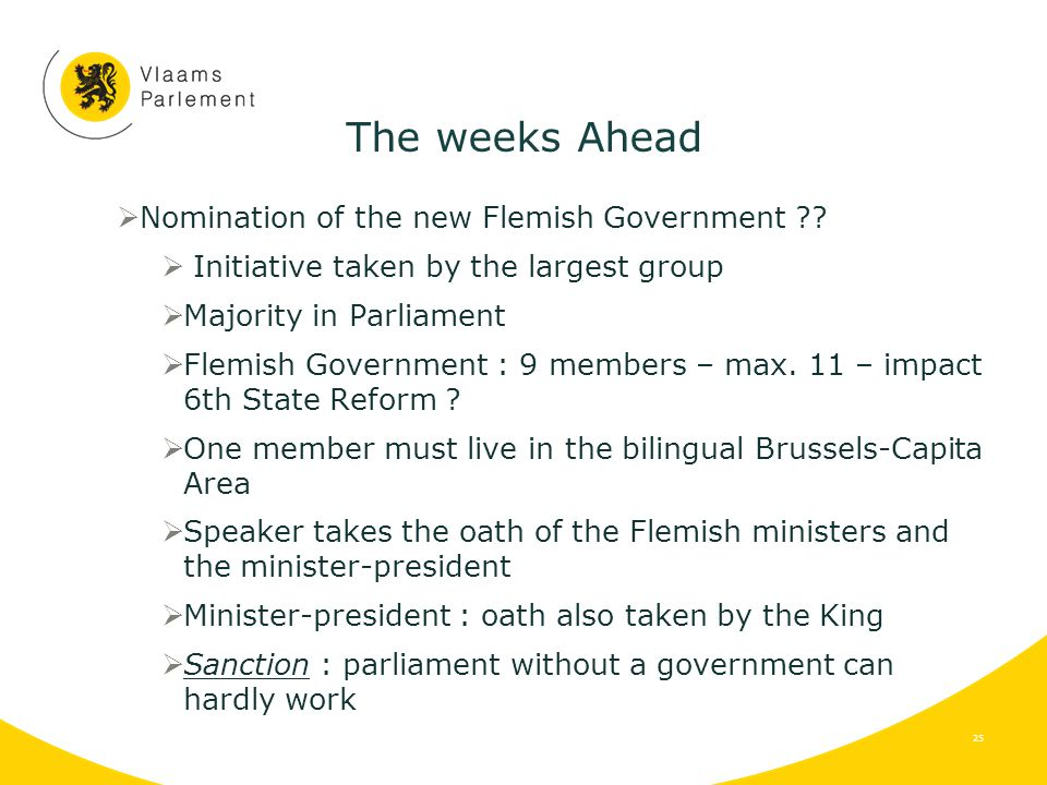 The weeks Ahead  Nomination of the new Flemish Government .
