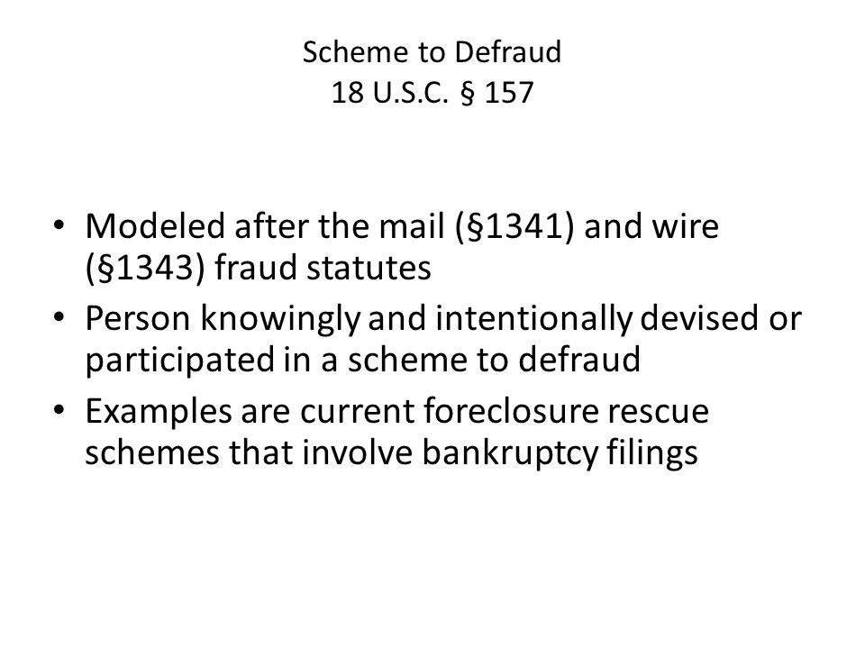 Scheme to Defraud 18 U.S.C.