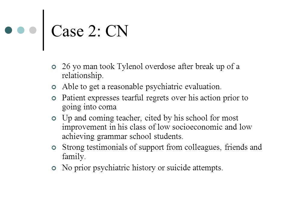 Case 2: CN 26 yo man took Tylenol overdose after break up of a relationship.