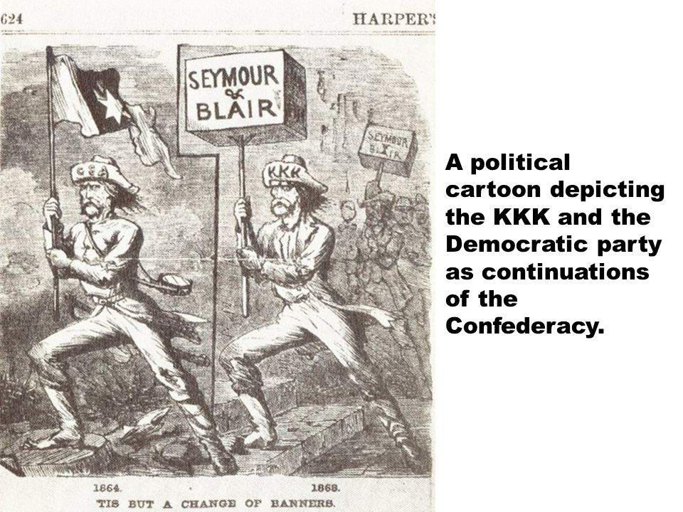 A political cartoon depicting the KKK and the Democratic party as continuations of the Confederacy.