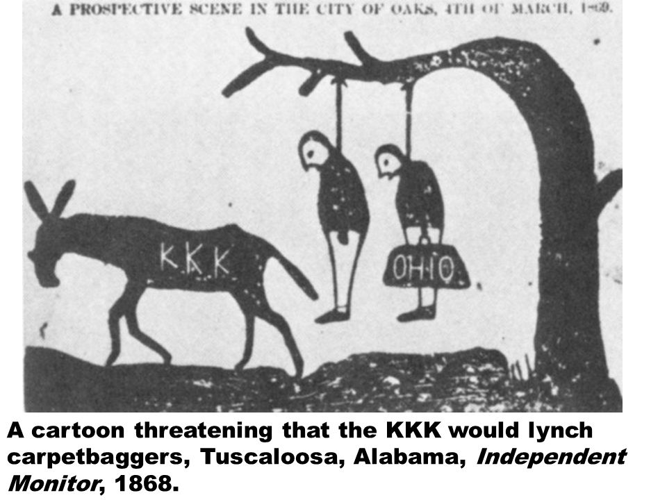 A cartoon threatening that the KKK would lynch carpetbaggers, Tuscaloosa, Alabama, Independent Monitor, 1868.