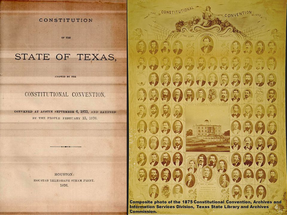 Composite photo of the 1875 Constitutional Convention, Archives and Information Services Division, Texas State Library and Archives Commission.