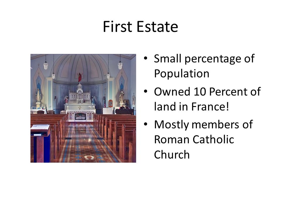 Second Estate Two percent of population Owned 20 Percent of land in France Paid almost nothing in taxes Mostly rich nobles
