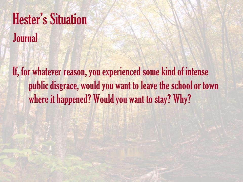 Hester's Situation Journal If, for whatever reason, you experienced some kind of intense public disgrace, would you want to leave the school or town w