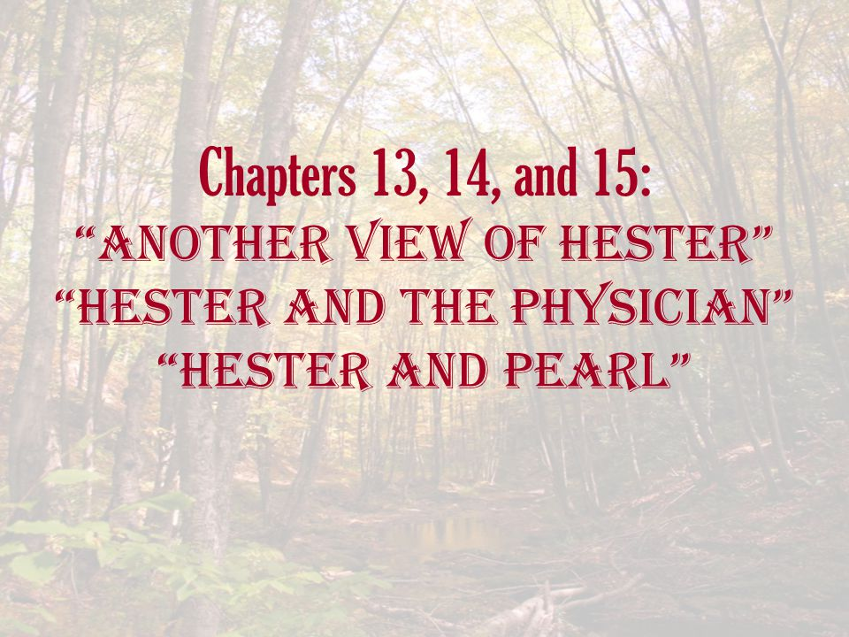 "Chapters 13, 14, and 15: ""another View of Hester"" ""Hester and the Physician"" ""Hester and Pearl"""