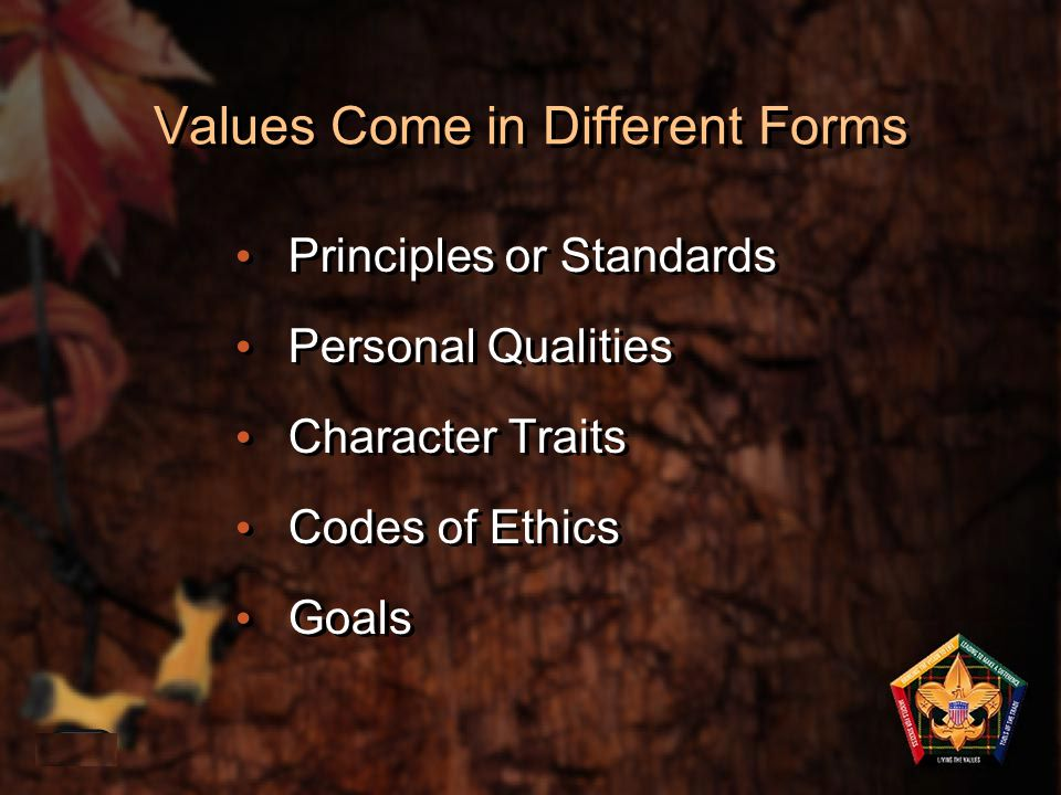 Values Come in Different Forms Principles or Standards Personal Qualities Character Traits Codes of Ethics Goals 1-33