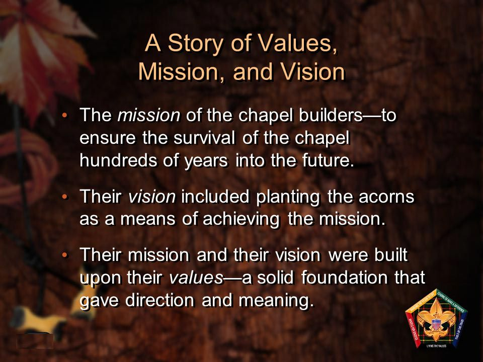 The Wood Badge Ticket Is: 1-40 A commitment A vision of personal improvement A vision of how the Scouter will lead A series of goals Your personal values A commitment A vision of personal improvement A vision of how the Scouter will lead A series of goals Your personal values