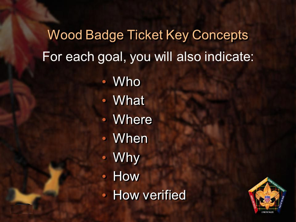 Wood Badge Ticket Key Concepts Who What Where When Why How How verified Who What Where When Why How How verified 1-43 For each goal, you will also ind