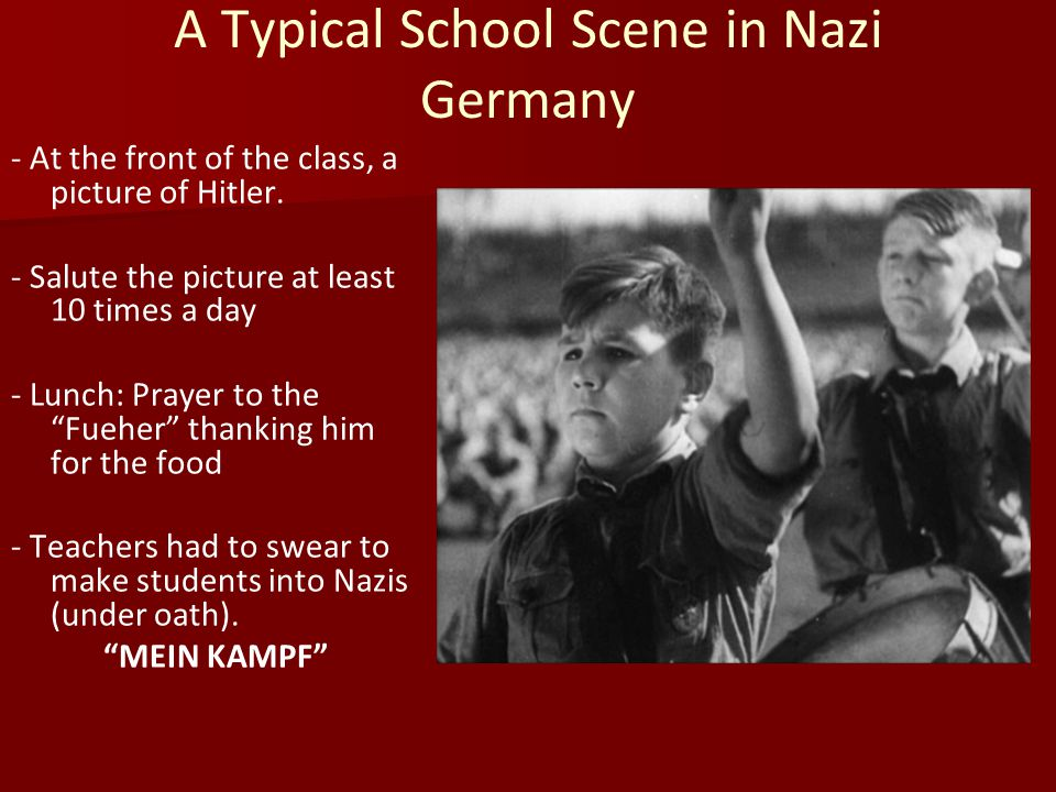 A Typical School Scene in Nazi Germany - At the front of the class, a picture of Hitler.