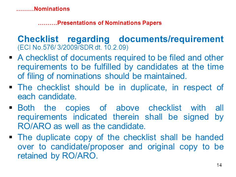 14 Checklist regarding documents/requirement (ECI No.576/ 3/2009/SDR dt.