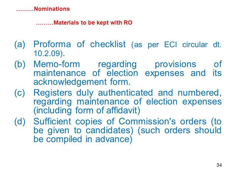 34 (a)Proforma of checklist (as per ECI circular dt.
