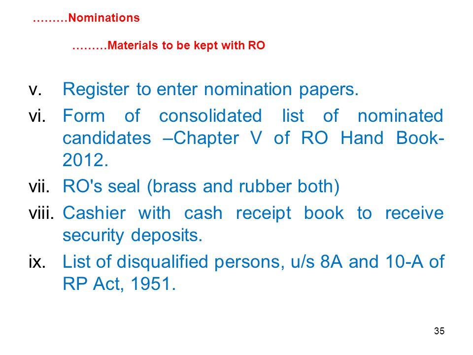 35 v.Register to enter nomination papers.