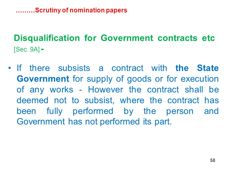 56 Disqualification for Government contracts etc [Sec.