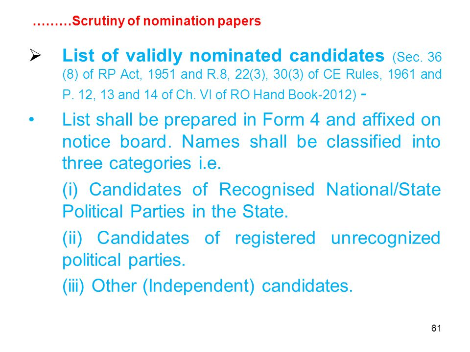 61  List of validly nominated candidates (Sec.