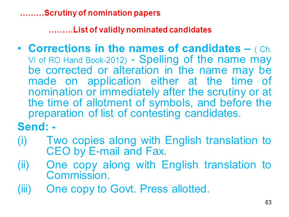 63 Corrections in the names of candidates – ( Ch.
