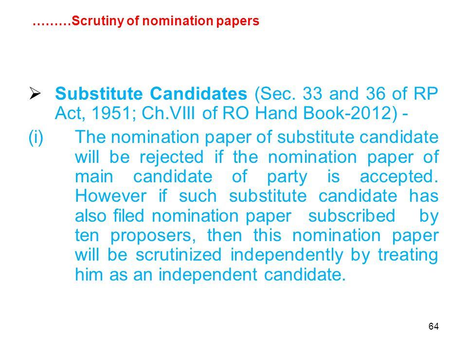 64  Substitute Candidates (Sec.