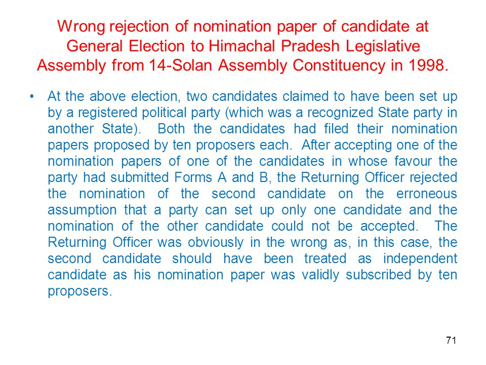 Wrong rejection of nomination paper of candidate at General Election to Himachal Pradesh Legislative Assembly from 14-Solan Assembly Constituency in 1998.
