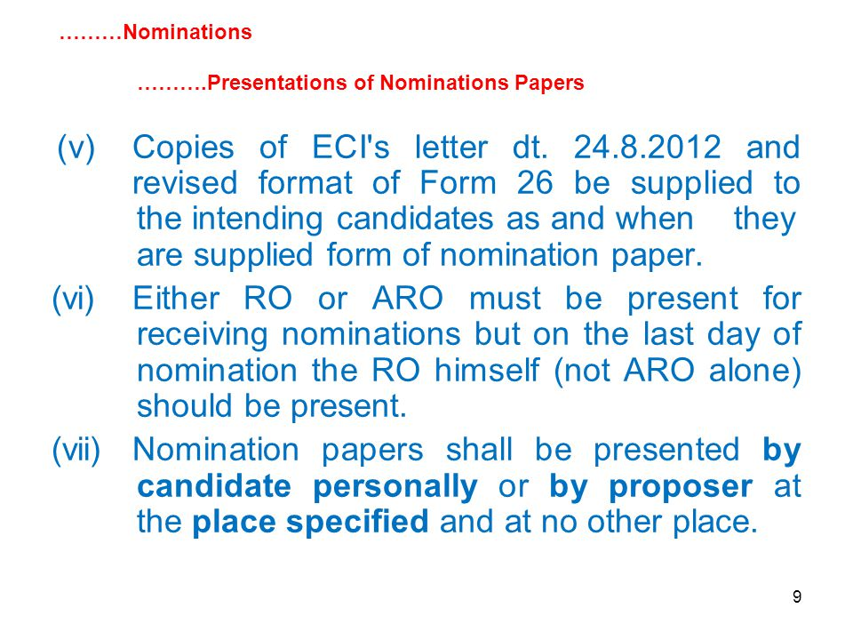 9 (v)Copies of ECI s letter dt.