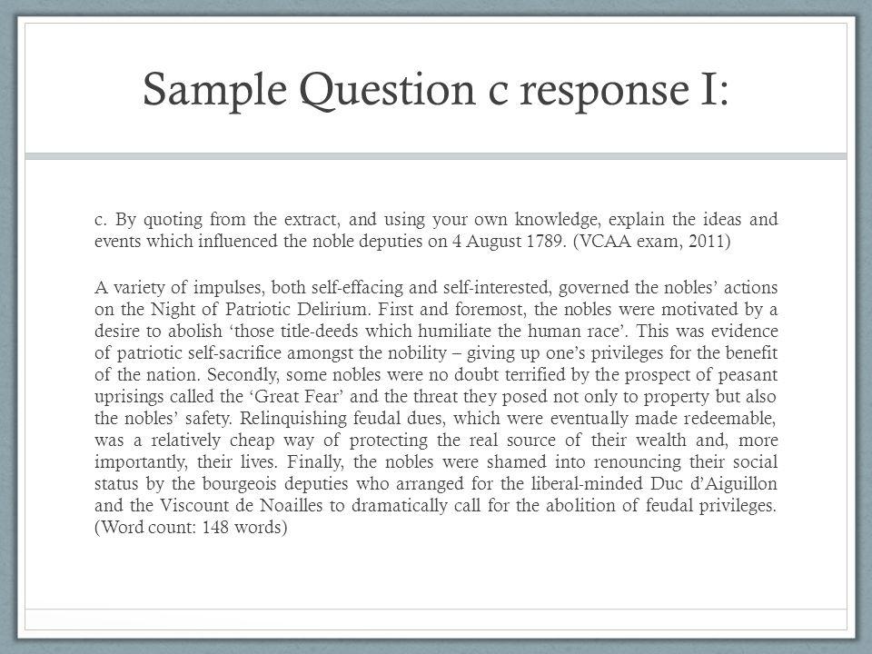Sample Question c response I: c.