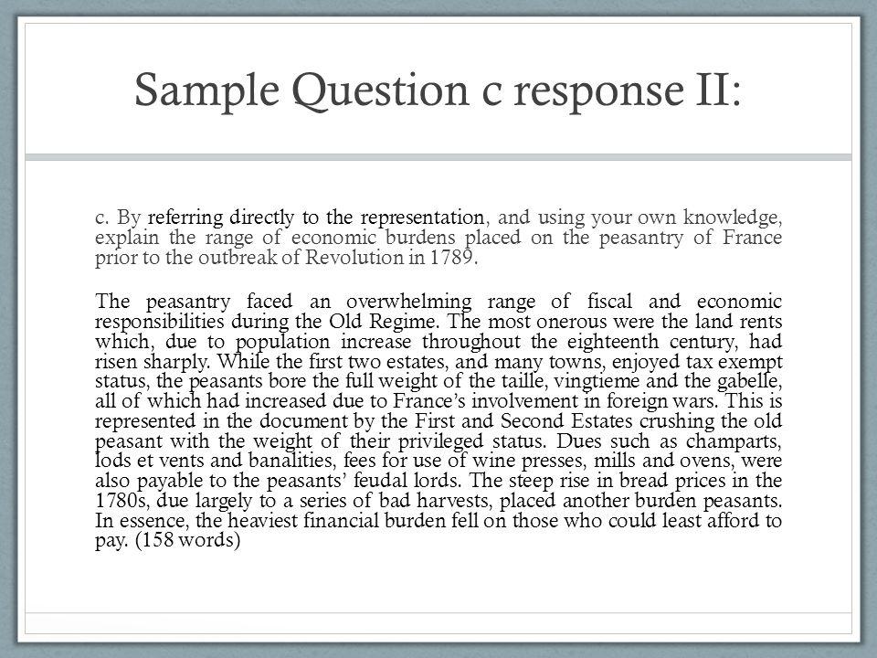 Sample Question c response II: c.