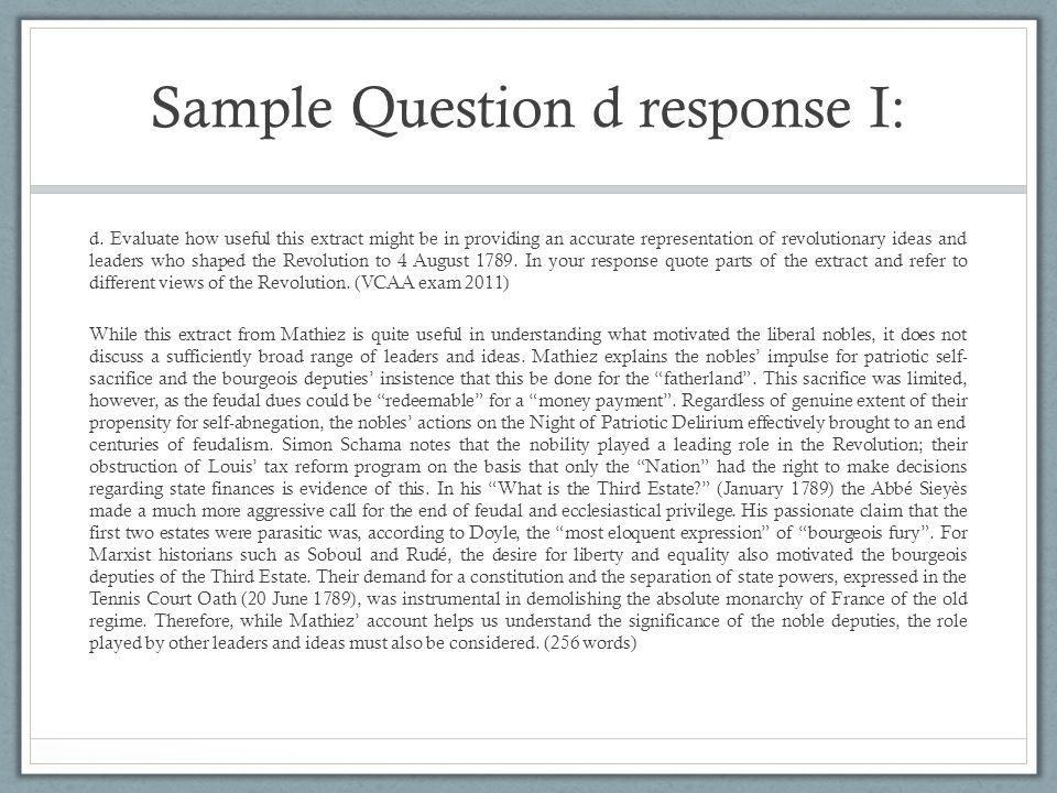 Sample Question d response I: d.