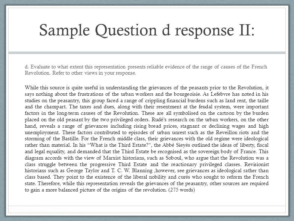 Sample Question d response II: d.