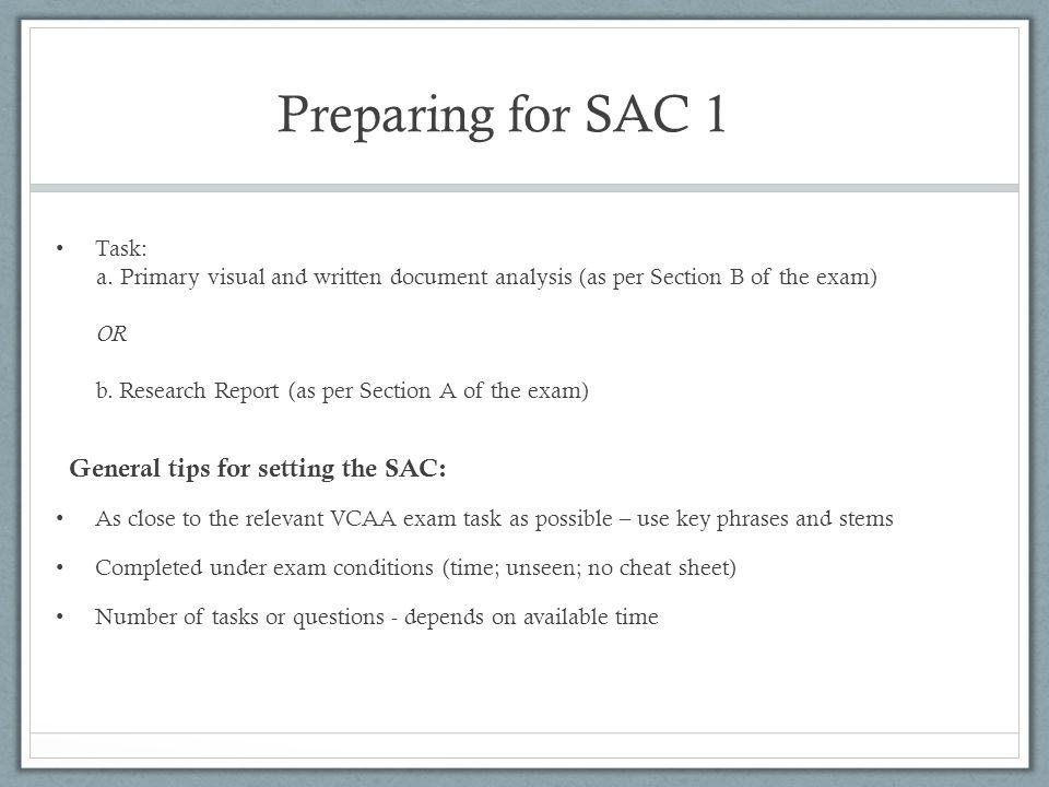 Preparing for SAC 1 Task: a.