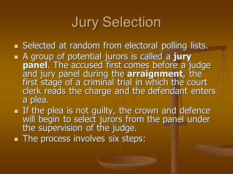 Jury Selection Selected at random from electoral polling lists.