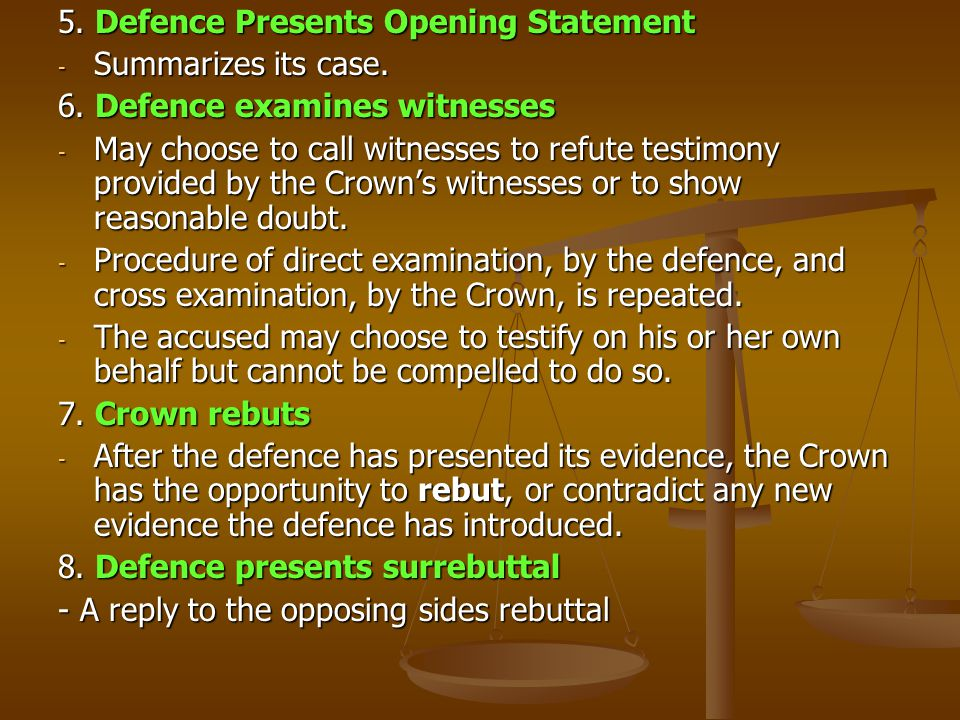 5.Defence Presents Opening Statement - Summarizes its case.
