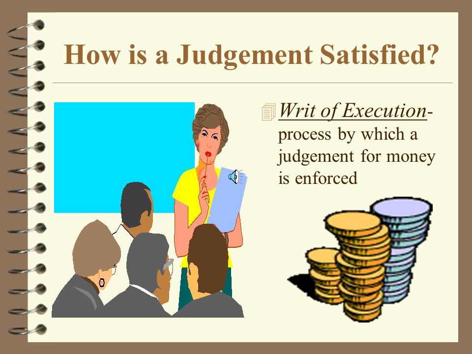 Civil Case Terms 4 Subpoena - written order by the judge commanding a witness to appear in court to give testimony 4 Contempt of Court - willful, unexcused failure to appear 4 Closing Statements - each attorney summarizes the case, trying to persuade the judge to favor his or her side 4 Instructions to the jury - tell the jury what rules of law to apply to the case 4 Preponderance of the Evidence - a majority of the evidence 4 Judgement - the final result of the trial