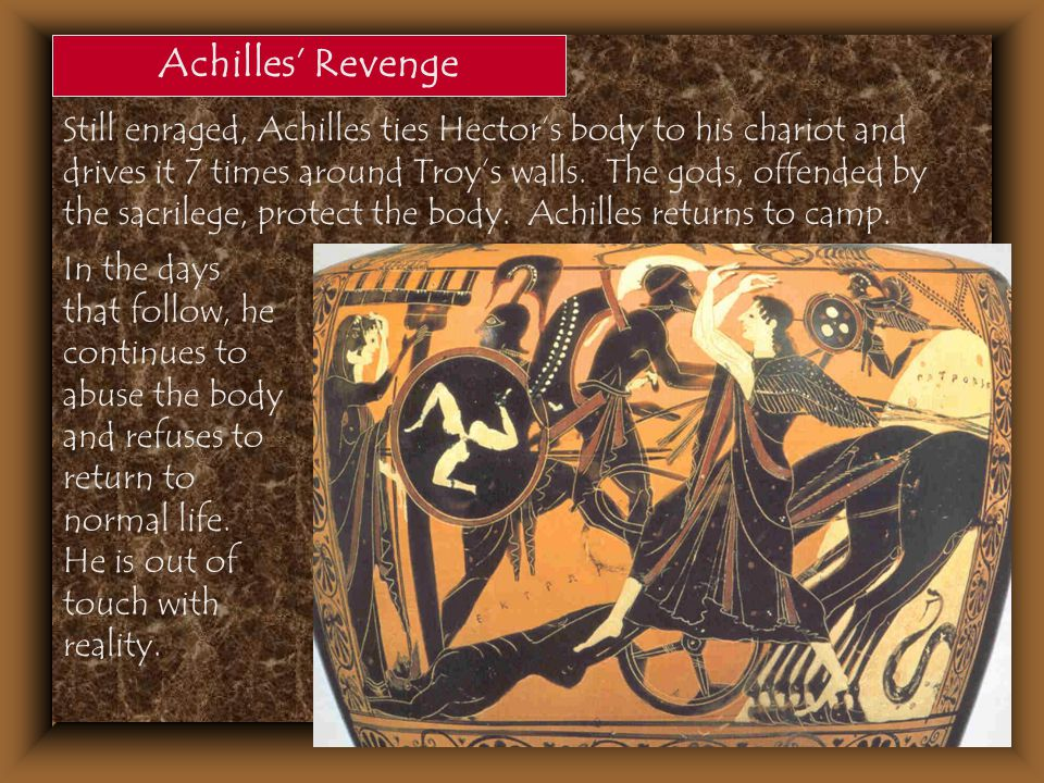 Achilles' Revenge Still enraged, Achilles ties Hector's body to his chariot and drives it 7 times around Troy's walls. The gods, offended by the sacri