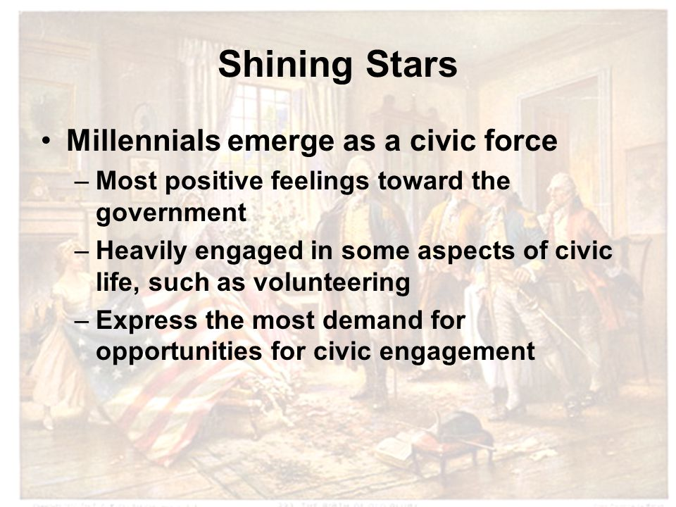 Shining Stars Millennials emerge as a civic force –Most positive feelings toward the government –Heavily engaged in some aspects of civic life, such as volunteering –Express the most demand for opportunities for civic engagement