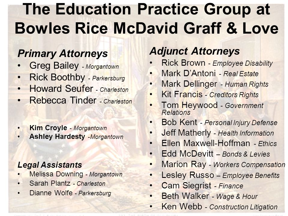 The Education Practice Group at Bowles Rice McDavid Graff & Love Primary Attorneys Greg Bailey - Morgantown Rick Boothby - Parkersburg Howard Seufer - Charleston Rebecca Tinder - Charleston Kim Croyle - Morgantown Ashley Hardesty -Morgantown Legal Assistants Melissa Downing - Morgantown Sarah Plantz - Charleston Dianne Wolfe - Parkersburg Adjunct Attorneys Rick Brown - Employee Disability Mark D'Antoni - Real Estate Mark Dellinger - Human Rights Kit Francis - Creditors Rights Tom Heywood - Government Relations Bob Kent - Personal Injury Defense Jeff Matherly - Health Information Ellen Maxwell-Hoffman - Ethics Edd McDevitt – Bonds & Levies Marion Ray - Workers Compensation Lesley Russo – Employee Benefits Cam Siegrist - Finance Beth Walker - Wage & Hour Ken Webb - Construction Litigation