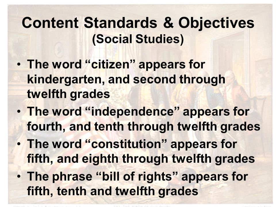 Content Standards & Objectives (Social Studies) The word citizen appears for kindergarten, and second through twelfth grades The word independence appears for fourth, and tenth through twelfth grades The word constitution appears for fifth, and eighth through twelfth grades The phrase bill of rights appears for fifth, tenth and twelfth grades