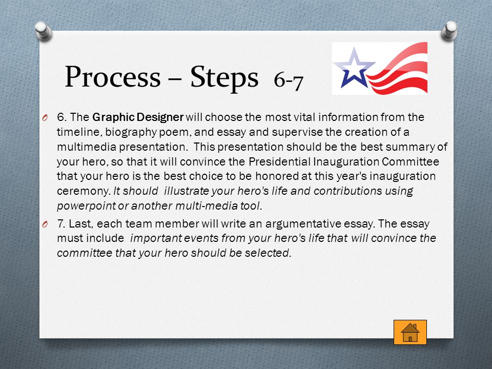Process – Steps 6-7 O 6. The Graphic Designer will choose the most vital information from the timeline, biography poem, and essay and supervise the cr