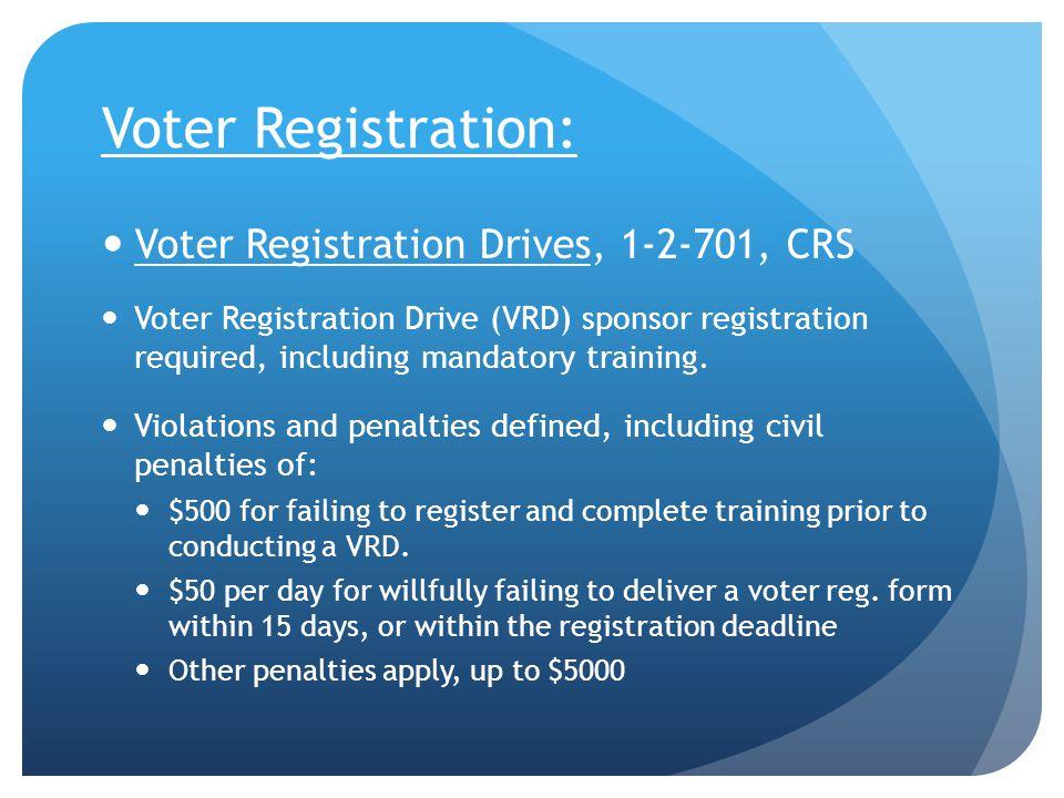 Voter Registration: Voter Registration Drives, 1-2-701, CRS Voter Registration Drive (VRD) sponsor registration required, including mandatory training.