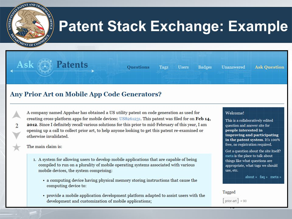 Patent Stack Exchange: Example 16