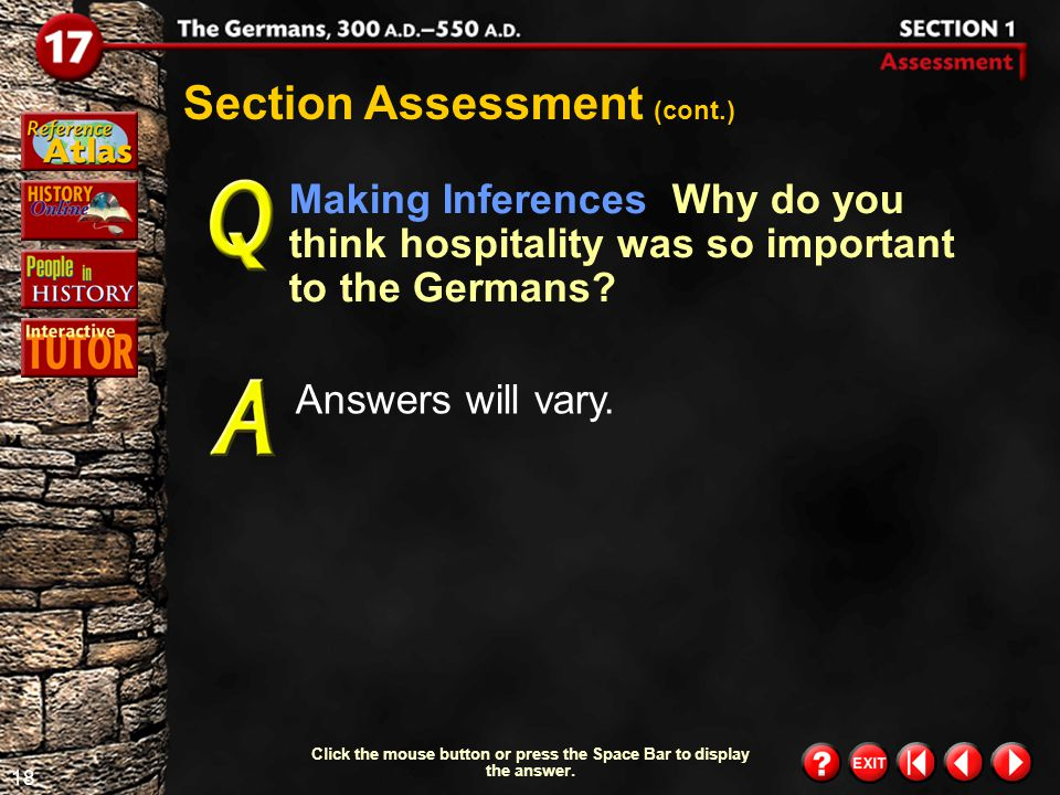 17 Section 1-Assessment 2 Section Assessment (cont.) What were some features of German religion.